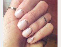 half moon glitter minimalist nail design