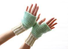 Handmade Fingerless gloves in mint and ivory Dianthe for by polixeni19, $24.00