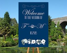 Printable Navy Blue Welcome Wedding Sign, Wedding Welcome Sign, Floral Watercolor  sign, Summer Wedding, Welcome poster, DIGITAL FILE WS046 by OccasionHouse on Etsy
