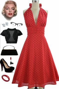 50s Style RED EYELET LACE Bombshell PINUP Marilyn HALTER Sun Dress w/ Full Skirt