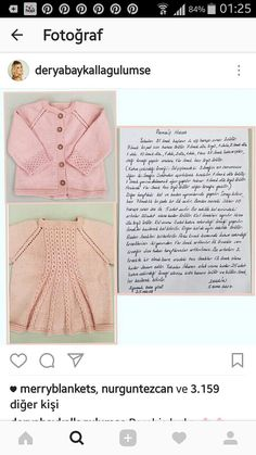 This Pin was discovered by e M Baby Knitting Patterns, Shrug Knitting Pattern, Baby Girl Patterns, Vestidos Chiffon, Knitted Baby Cardigan, Baby Coat, Moda Emo, Work Tops, Knit Jacket