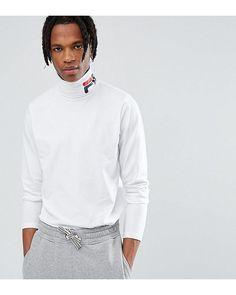243115295149 Men's Fila Black Line Ski Long Sleeve T-shirt With Logo Roll Neck In White