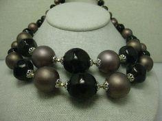 Vintage Brown Matte & Shiny Beaded  Multi-Strand Necklace & Clip Earrings, Japan #Japan