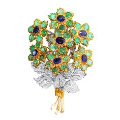 Buccellati Emerald Sapphire Diamond Gold Flower Bouquet Brooch | From a unique collection of vintage brooches at https://www.1stdibs.com/jewelry/brooches/brooches/