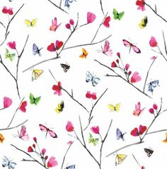 Mazarine (97532) - Albany Wallpapers - A stylish butterfly pattern bursting with confetti colours. Mazarine features multiple brightly coloured hand painted butterflies against rich coloured background. This is a non woven paste the wall product. Shown here in on a white background - more colours are available. Please request a sample for true colour match.
