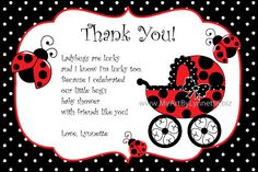 Ladybug Thank You Card Wording | LynnetteArt: Ladybug Baby Shower Party Invitations
