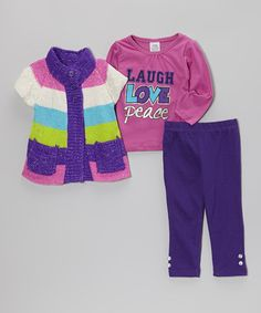 Love this Purple & Lime Stripe Sweater Set - Toddler & Girls by Real Love on #zulily! #zulilyfinds