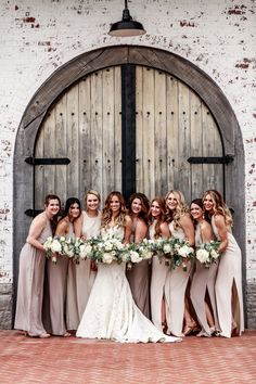 #BellaNashville Bride Caroline Smith's Trinity View Farms wedding was dreamy! The bride is pictured alongside her tribe in Natalie Deayala varied styles! Color: Dove, Sand, & Opal ph: Karma Pants Photography