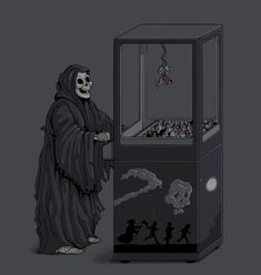 'Who's Next?' by Naolito, art, illustration, grim reaper, death
