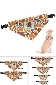 Looking for a unique dog bandana? Customize this product's traditional thanksgiving design templ Dog Collar Bandana, Diy Dog Collar, Dog Collars, Dog Grooming Business, Pet Grooming, Dog Clothes Patterns, Thanksgiving Traditions, Dog Crafts, Puppy Clothes