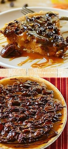 Pumpkin Pie with Pecan-Chocolate Topping... TWO PIES IN ONE!!! pumpkin pie, cake, pumpkin desserts recipes