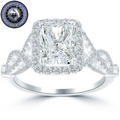 3.05 Ct. EGL Certified D-SI1 Radiant Cut Diamond Engagement Ring 18k White Gold - Pave Halo Engagement Rings - Engagement