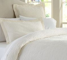 Valerie Floral Matelasse Duvet Cover, also comes in gray, charcoal, cream and 2 shades of blue  #potterybarn
