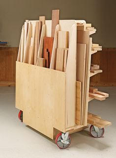 , Robust Lumber Cart Woodsmith Plans - Shop space is always at a premium in . , Robust Lumber Cart Woodsmith Plans - Shop space is always at a premium. But this versatile cart deserves its place by providing storage . Easy Woodworking Projects, Woodworking Furniture, Fine Woodworking, Wood Projects, Woodworking Workbench, Woodworking Workshop, Folding Workbench, Japanese Woodworking, Woodworking Shop Storage Ideas