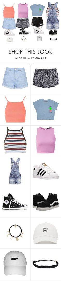 """First Week of School Outfits"" by thethreetottalytweens ❤ liked on Polyvore featuring Topshop, Motel, Boohoo, adidas, Converse, Vans, Ettika and Pura Vida"
