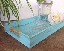 Wooden tray - shabby chic decor - turquoise