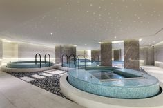 Spa at Swisstouches Hotel Xi'an, designed by HBA/Hirsch Bedner Associates. Spa Design, Spa Interior Design, Design Hotel, Interior Modern, Kitchen Interior, House Design, Luxury Pools, Luxury Spa, Pool Spa