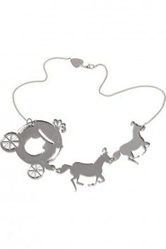 Horse & Carriage Necklace - silver mirror  You shall go the ball! And dressed in your very own horse and carriage (guaranteed not to disappear after midnight...). This pumpkin coach and plumed horses are made from shiny silver mirror, fit for a fairytale princess. Everybody falls in love with this necklace when you wear it, so get ready to receive lots of compliments.