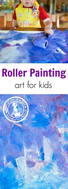 Art therapy activities simple Let your kids paint a really big picture, using a roller! A fun process art activity for toddlers and older. Art Activities For Toddlers, Art Therapy Activities, Art For Toddlers, Kids Painting Activities, Art And Craft Videos, Easy Arts And Crafts, Toddler Art, Toddler Crafts, Easy Art Projects