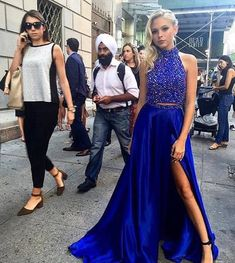 2017 Long Royal Blue Prom Dress, Beaded Prom