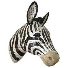 For Sale on - life-sized papier-mâché Zebra trophy, created from French newspaper and magazine pages, expertly arranged with an eye for shading and texture. Paper Mache Sculpture, Abstract Sculpture, Wood Sculpture, Custom Shipping Boxes, Trophies For Sale, Drawing Prompt, Walnut Shell, Italian Art, Gold Wood