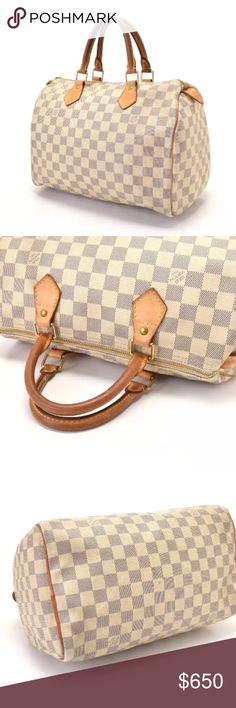 💯 authentic Louis Vuitton Damier Azure speedy 30 Great bag for spring! The bag is pre-loved with signs of wear as shown: patina on handles, marks/wear on interior, signs of use overall. Still a lovely bag! Guaranteed authentic. Buy with confidence, posh authenticates any purchase over $500 at their headquarters before sending to you! Louis Vuitton Bags Satchels