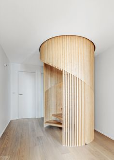 SABO Project creates family-friendly Sacha apartment in Paris - cylindrical staircase made from thin slats of plywood Duplex Apartment, Apartment Renovation, Apartment Interior, Apartment Design, Apartment Layout, Apartment Living, Interior Stairs, Interior Architecture, Interior Design