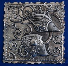 MercArt: The Metal Embosser: Fish Rubber Stamp. Rubber stamps are another source of designs. Stamp on the metal, or on paper. Pewter.