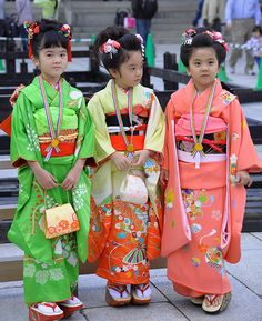 """Japanese people are keenly aware of the four seasons, and the clothes they wear are always in keeping with the season. The Japanese are also very tuned in to the stages of their lives. Special events are held to mark milestones in children's growth, for instance, and people change their kimonos to fit both the season and the occasion. Another key event in a kid's life is the Shichi-Go-San (""""seven-five-three"""") Festival, which takes place in November."""
