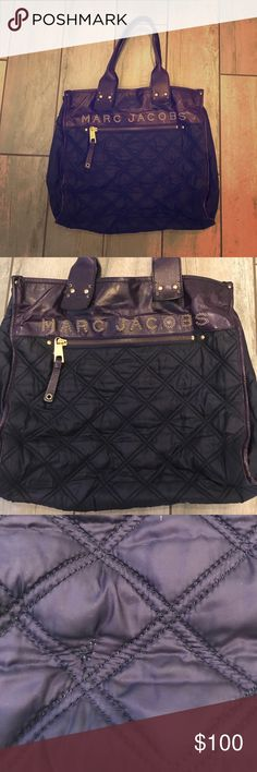 Marc Jacobs signature quilted tote Marc Jacobs signature quilted tote in deep purple. Mixture of leather and nylon fabric with the Marc Jacobs name across the top in metal detailing. Excellent condition. There is one small tear that has been mended (pictured) but otherwise no flaws! 18in L x 11in H x 6in W with a 7in drop. Made in Italy. One exterior zipper pocket and one interior! Marc Jacobs Bags Totes