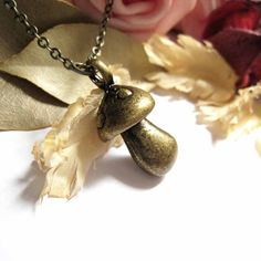 Antique Brass Miniature Mushroom Pendant Necklace