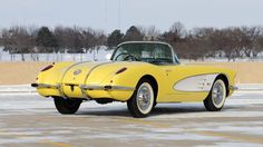 Auction Lot Kissimmee, FL Panama Yellow with White top and Dark Charcoal interior. My Dream Car, Dream Cars, Yellow Corvette, Car Man Cave, Chevy Muscle Cars, Corvette Convertible, Yellow Car, Fancy Cars, Corvettes