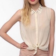 Urban Outfitters sheer top with spiked collar Worn a couple of times, super cute, in great condition Urban Outfitters Tops