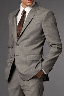 About Mens Style / Grey suit + brown tie