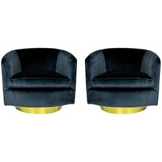 Pair of Navy Blue Velvet Swivel Chairs by Milo Baughman | From a unique collection of antique and modern swivel chairs at http://www.1stdibs.com/furniture/seating/swivel-chairs/
