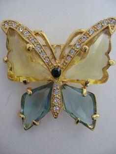 vintage blue & yellow big rhinestone butterfly pin