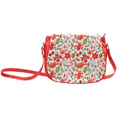 Cute Red Flowers Leaves Nature Classic Saddle Bag/Large (Model 1648)