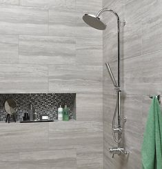 Excellent Light Grey Wall Tiles With Sleek Chrome Finished Shower Head For Modern Bathroom Plan, Big Gray Tiles, Windows 10 Gray Tiles Grey Wall Tiles, Grey Bathroom Tiles, Wall And Floor Tiles, Grey Walls, Bathroom Flooring, Bathroom Wall, Bathroom Interior, Modern Bathroom, Wickes Bathroom Tiles