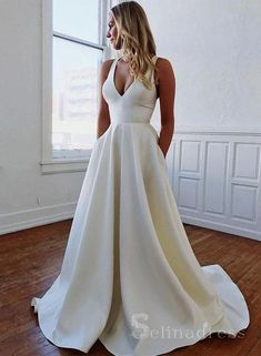 Wedding Dresses Long,Wedding Dresses Sleeveless,Wedding Dresses Satin,Wedding Dresses A-Line,Wedding Dresses White Plain Wedding Dress, White Bridal Dresses, Wedding Dress With Pockets, Fall Wedding Dresses, White Long Dresses, Elegant Dresses, Wedding White, Boho Wedding, White Simple Wedding Dress