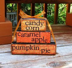 Thoughts candy corn caramel apples pumpkin by happybluedragonfly on Etsy 2x4 Crafts, Fall Wood Crafts, Wood Block Crafts, Wood Blocks, Pumpkin Crafts, Letter Blocks, Easy Fall Crafts, July Crafts, Wooden Crafts