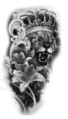 Lion tattoos hold different meanings. Lions are known to be proud and courageous creatures. So if you feel that you carry those same qualities in you, a lion tattoo would be an excellent match Lion Head Tattoos, New Tattoos, Body Art Tattoos, Tattoos For Guys, Clock Tattoo Design, Lion Tattoo Design, Tattoo Designs, Tattoo Ideas, Full Sleeve Tattoo Design
