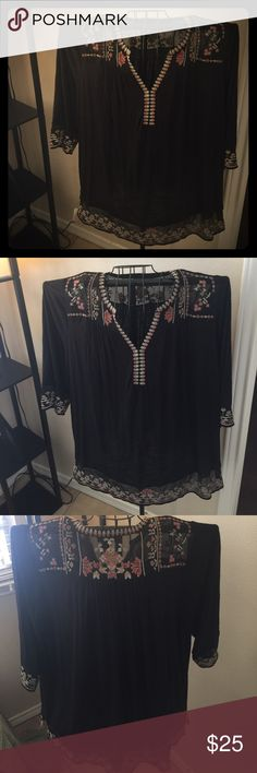 Fun boho style Lucky 🍀 Brand shirt One of my favorite shirts! Very soft and whimsical! Has been worn, but in great shape. A lot of love left! No signs of fading, stains or tears. Lucky Brand Tops Blouses