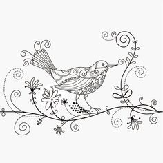 XOO Plate :: Hand Drawn Floral Art Bird Vector Illustration - Fine drawing of a patterned bird with swirling floral elements - vector EPS illustration.