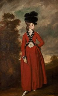 Lady Worsley wears a riding habit. Painting by Sir Joshua Reynolds (c.1776). Harewood House.