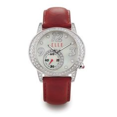 ELLE Dark Red Leather Strap Watch with White Mother of Pearl Dial and Swarovski Crystal Silver Bezel.