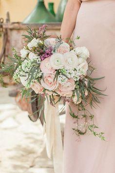Blush toned romantic cascading wedding bouquet inspiration