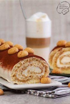 Tiramisu als Roulade mit Biskuit und Mascarpone-Creme. Getränkt wird die Roulade mit starken Kaffee und Amaretto. Ein italienischer Klassiker im neuen Gewand! (tiramisu recipe)