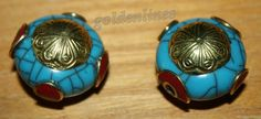 Tibetan Nepalese Handmade Turquoise Resin Coral 2 by goldenlines