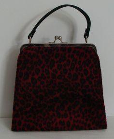 Women`s Small Dressy Red & Black Faux Fur Cheetah Print Hand Bag Clasp Top Close