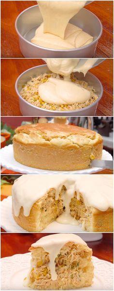 Torta Super Cremosa de Frango com um Molho DELICIOSO! #torta #tortadefrango #tortacremosa #frangocremoso #molhocremoso